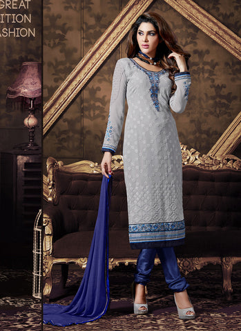 Straight Cut Style Gray with Resham Work Astounding Unstitched Salwar Kameez