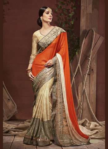 Cute Plain Pallu Saree in Deep Orange Color
