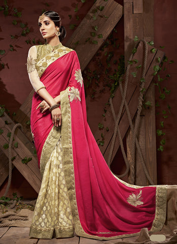 Pretty Embroidered Pallu Saree in Crimson Color