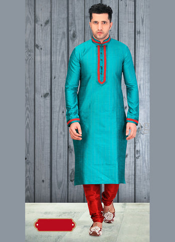 Exquisite Chinese Collar Men's Dupioni Raw Silk with Lace Blue Readymade Kurta