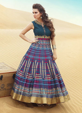 A Line Style Multiple Color with Resham Work Exquisite Readymade Salwar Kameez