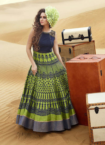 A Line Style Blue Color with Butta Work Exquisite Readymade Salwar Kameez