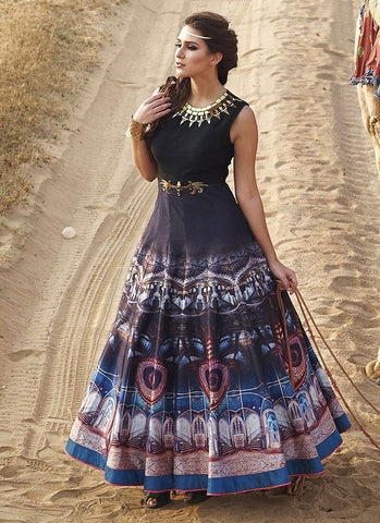 A Line Style Black Color with Butta Work Exquisite Readymade Salwar Kameez