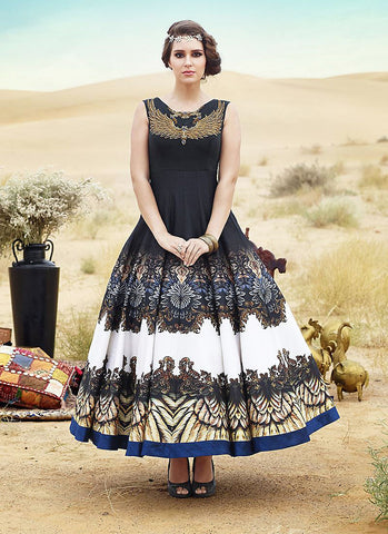 A Line Style Pretty Salwar Kameez in Black
