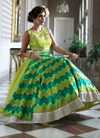 A Line Style Incredible Salwar Kameez in Green