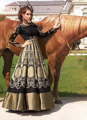 A Line Style Black with Resham Work Exquisite Readymade Salwar Kameez