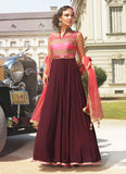 A Line Style Pink Color with Mirror Work Exquisite Readymade Salwar Kameez