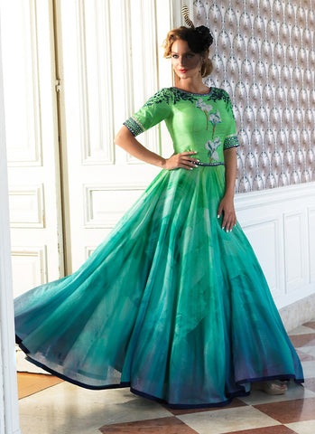 A Line Style Green with Resham Work Exquisite Readymade Salwar Kameez