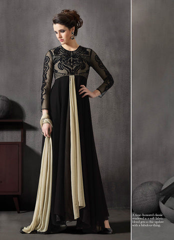 A Line Style Incredible Salwar Kameez in Black Color