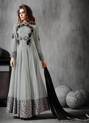 Anarkali Style Gray with Lace Work Incredible Unstitched Salwar Kameez