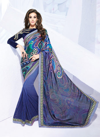 Navy Blue Color Saree With Beautiful Printed Pallu