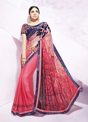 Salmon Saree With Cute Printed Pallu