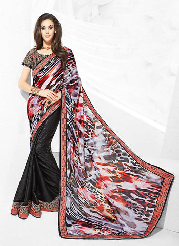 Black Saree With Wonderful Printed Pallu