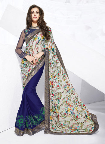 Classic Looking Satin Blue Ethnic Saree For Womens