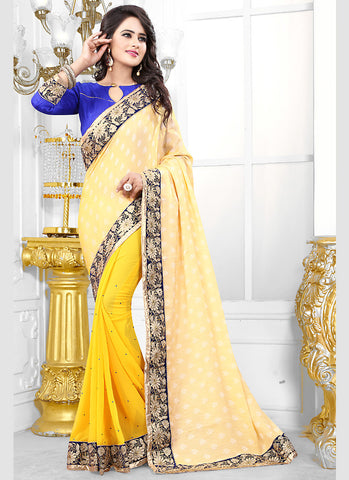 Women's Attractive Looking Yellow Jacquard Ethnic Saree