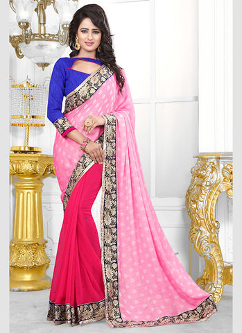 Beautiful Looking Jacquard Pink Ethnic Saree