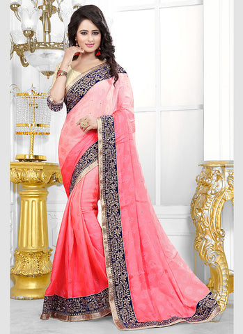 Salmon Color Saree With Attractive Fancy Pallu