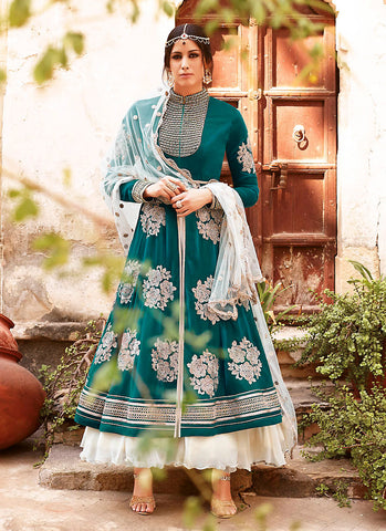 A Line Style Green Color with Crystals Stones Work Incredible Unstitched Salwar Kameez