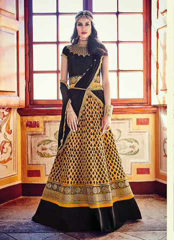 Black Net Incredible Salwar Kameez in A Line Style