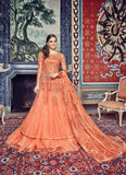 Straight Cut Style Orange Color with Beads Work Incredible Unstitched Salwar Kameez