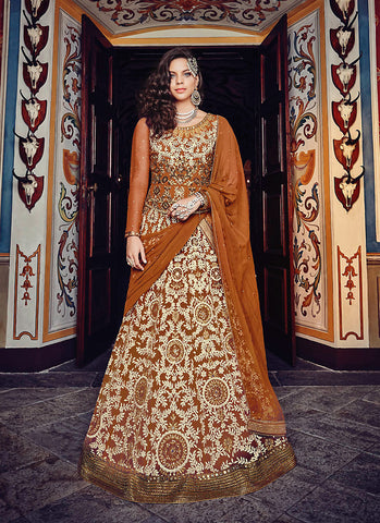 Long Anarkali Style Brown with Mirror Work Incredible Unstitched Salwar Kameez