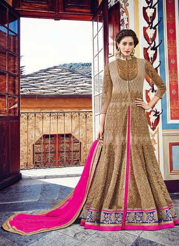 Achkan Style Brown Color with Beads Work Incredible Unstitched Salwar Kameez