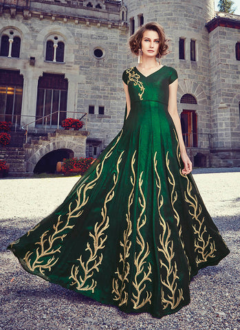 Green Net Incredible Salwar Kameez in Long Anarkali Style