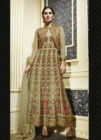 Long Anarkali Style Incredible Salwar Kameez in Green