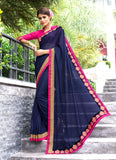 Fine-looking Plain Pallu Saree in Navy Blue Color