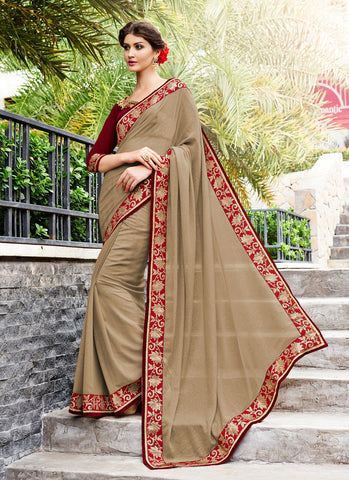 Classic Looking Georgette Brown Saree For Womens