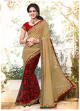 Women's Attractive Looking Brown Crystals Stones & Lace Ethnic Saree