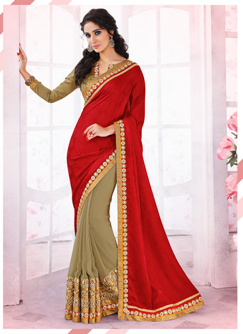 Woemn's Traditional Looking Jacquard Red Ethnic Saree
