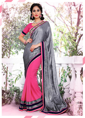 Attractive Looking Satin Gray Ethnic Saree Womens