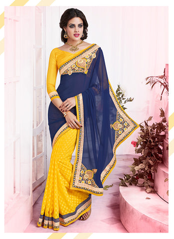 Woemn's Traditional Looking Georgette Blue Ethnic Saree