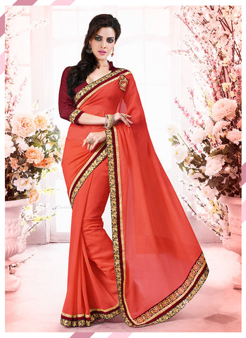 Charming Plain Pallu Saree in Deep Orange