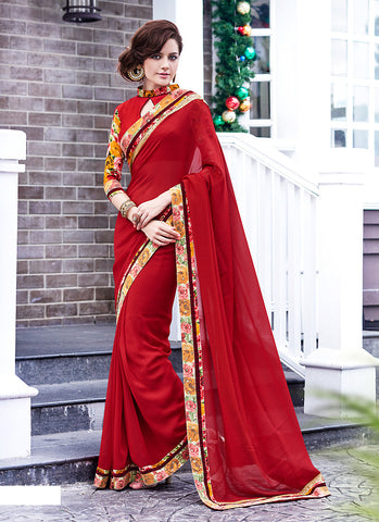 Classic Looking Georgette Red Saree For Womens