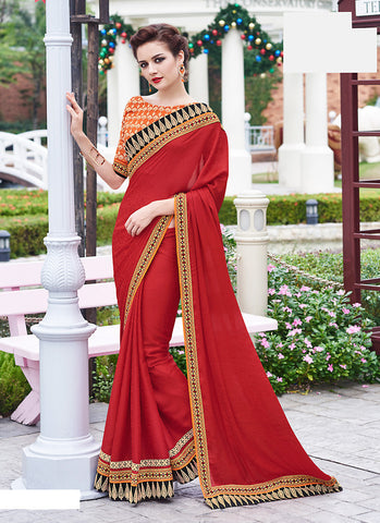 Classic Looking Jacquard Red Saree For Womens