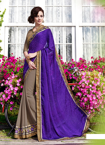 Purple Saree With Attractive Plain Pallu