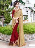 Women's Attractive Looking Red Patch Work Ethnic Saree