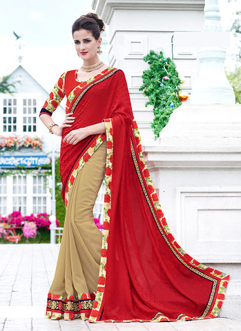 Beautiful Looking Georgette Brown Ethnic Saree