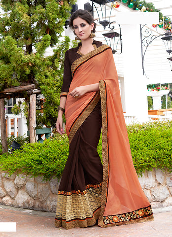 Pretty Plain Pallu Saree in Chocolate Color