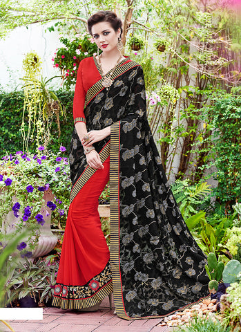 Women's Attractive Looking Black Lace & Resham Ethnic Saree