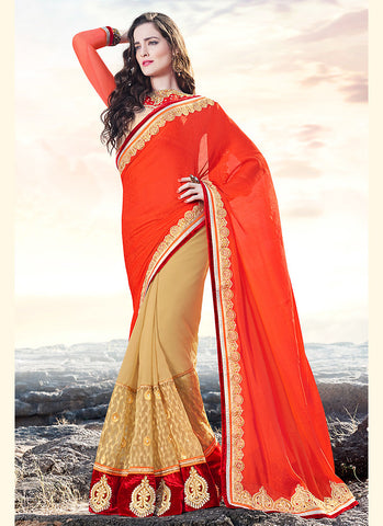 Pretty Plain Pallu Saree in Deep Orange Color