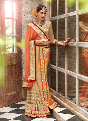 Women's Attractive Looking Ethnic Brown Beads Saree