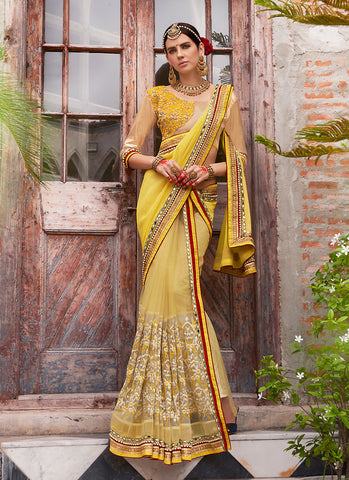 Women's Attractive Looking Yellow Beads, Resham, Mirror, Lace & Butta Work Ethnic Saree