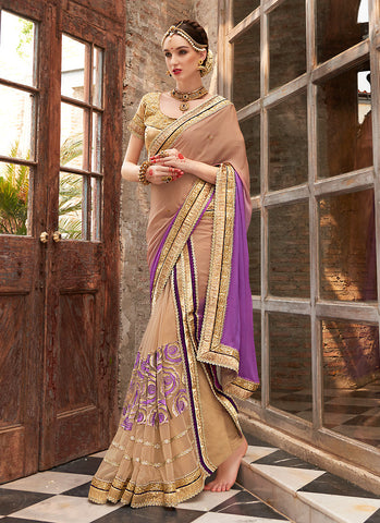 Women's Attractive Looking Ethnic Purple Net Saree