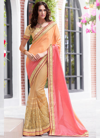 Attractive Looking Ethnic Pink Beads Saree For Womens