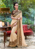 Attractive Looking Ethnic Brown Resham Saree For Womens