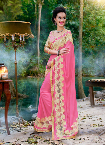 Pink Color Saree With Beautiful Plain Pallu