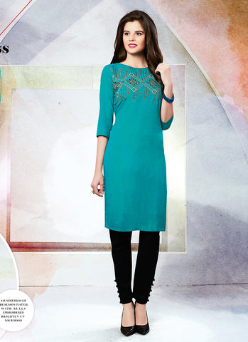 Blue Color with Butta Work Astounding Readymade Kurti